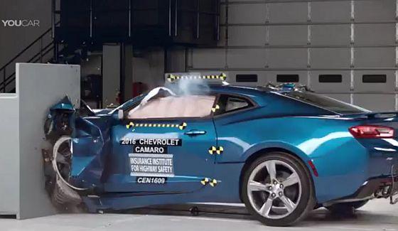 Chevy Camaro, Ford Mustang i Dodge Challenger - testy zderzeniowe 2016