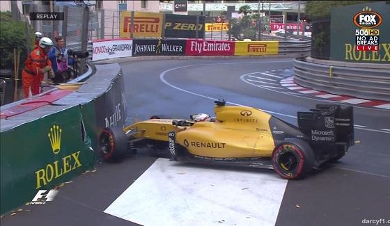 GP Monako 2016 - wypadek Magnussena
