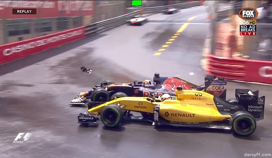 GP Monako 2016 - kolizja Kwiata i Magnussena